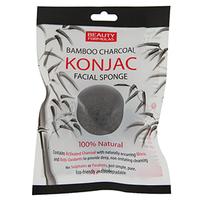 BEAUTY FORMULAS Konjac Naturalna gąbka do mycia twarzy z węglem z Bambusa