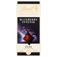 Lindt Excellence Blueberry Intense Czekolada ciemna z migdałami i kawałkami borówki