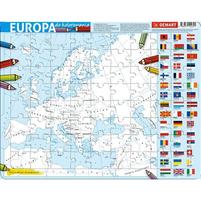 DEMART Puzzle ramkowe. Europa do kolorowania. Podział polityczny (72 elementy)