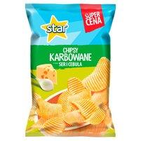STAR CHIPS Chipsy ziemniaczane karbowane o smaku sera i cebuli