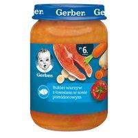 GERBER Bukiet warzyw z łososiem w sosie pomidorowym dla niemowląt po 6. m-cu
