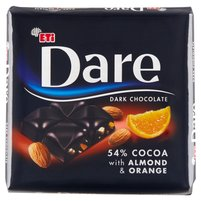ETI Dare Czekolada gorzka 54% kakao z dodatkiem migdałów i pomarańczy