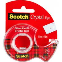 SCOTCH Crystal Clear Taśma biurowa transparentna z dyspenserem (19mm x 7,5m)