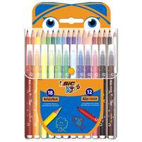BIC Kredki ołówkowe 18 kolorów + flamastry 12 kolorów