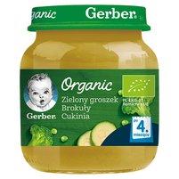 GERBER Organic Zielony groszek brokuły cukinia dla niemowląt po 4. m-cu