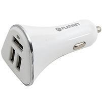PLATINET Ładowarka samochodowa 3xUSB + kabel microUSB 1m biała