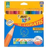 BIC KIDS Evolution Wytrzymałe kredki ołówkowe 18+6 gratis