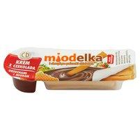 MIODELKA Krem z czekoladą orzechami i miodem i chrupiące paluszki chlebowe