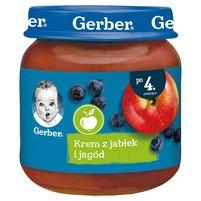 GERBER Krem z jabłek i jagód dla niemowląt po 4. m-cu
