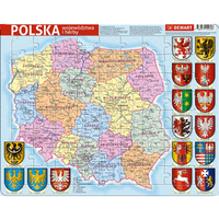 DEMART Puzzle ramkowe. Polska. Województwa i herby (72 elementy)