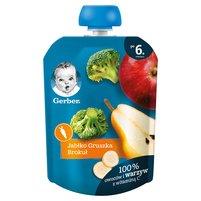 GERBER Deserek jabłko gruszka brokuł dla niemowląt po 6. m-cu
