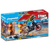 PLAYMOBIL Stunt Show Pokaz kaskaderski: Motor z płonącą przeszkodą 70553 (4+)