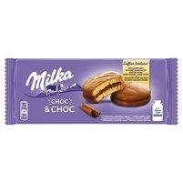 MILKA Choc & Choc Ciastka biszkoptowe przekładane nadzieniem kakaowym oblane czekoladą mleczną