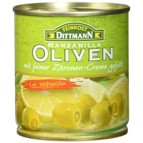 FEINKOST DITTMANN Zielone oliwki manzanilla z nadzieniem cytrynowym