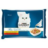 GOURMET Perle Fileciki w smakowitym sosie Pełnoporcjowa karma dla dorosłych kotów (4 saszetki)