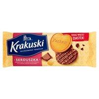 KRAKUSKI Serduszka Herbatniki z dodatkiem masła w czekoladzie mlecznej