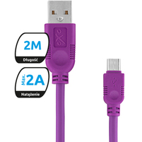 EXC Kabel microUSB Whippy 2M fioletowy