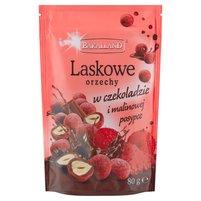 BAKALLAND Laskowe orzechy w czekoladzie i malinowej posypce