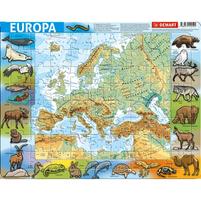 DEMART Puzzle ramkowe MAPA EUROPA fizyczna (72 elementy)