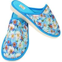 BOSACO Kapcie damskie zakryte w kwiaty roz. 36-41 niebieski