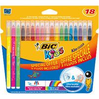 BIC Kids Kid Couleur Łatwo zmywalne flamastry +3 fluorescencyjne