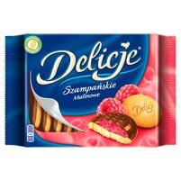 DELICJESzampańskie Biszkopty z galaretką o smaku malinowym oblewane czekoladą