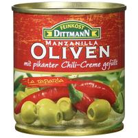 FEINKOST DITTMANN Zielone oliwki manzanilla z nadzieniem chilli