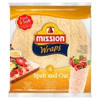 MISSION Wraps Tortille z mąki pszennej orkiszowo-owsiane (4 sztuki)