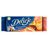 DELICJE Szampańskie Biszkopty z galaretką morelową oblewane czekoladą