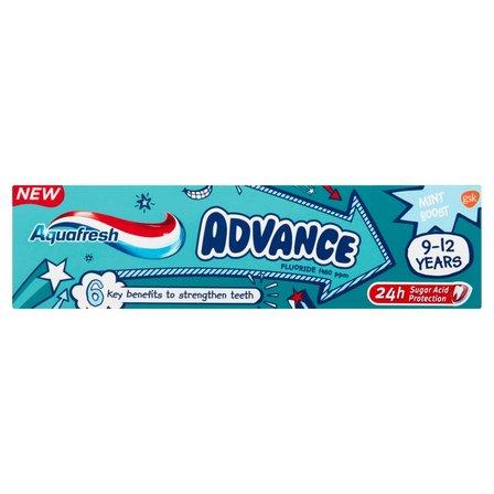 AQUAFRESH Advance Pasta do zębów z fluorkiem dla dzieci 9-12 lat (2)