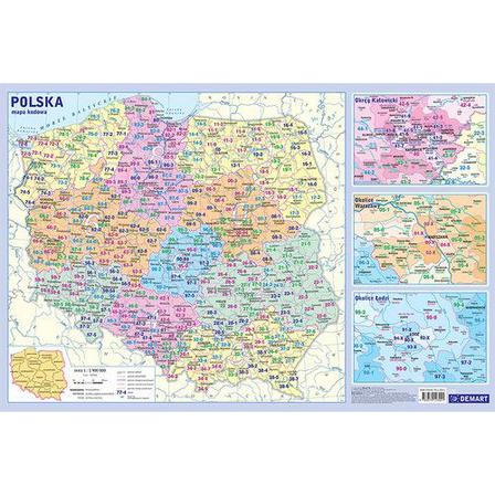 DEMART Podkładka edukacyjna. Mapa administracyjna Polski z kodami pocztowymi (1)