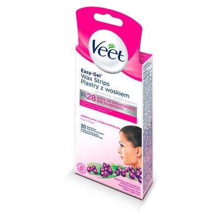 VEET Easy-Gel Plastry z woskiem do depilacji twarzy Skóra normalna (1)