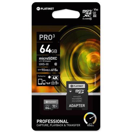 PLATINET Karta pamięci Micro SD 64GB class10 U3 (2)