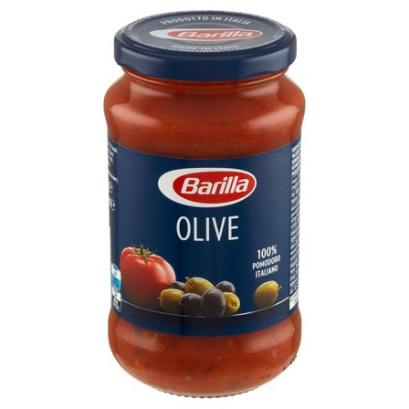 BARILLA Olive Sos do makaronu pomidorowy z zielonymi i czarnymi oliwkami (1)