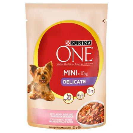 PURINA ONE Mini Delicate Karma dla psów z łososiem ryżem i marchewką w sosie (1)