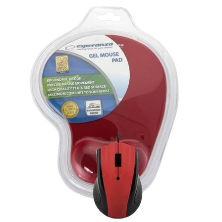 ESPERANZA Myszka z podkładką żelową EM125R czerwony (1)