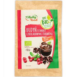 VITALLY FOOD Budyń o smaku czekoladowym z żurawiną BIO (1)