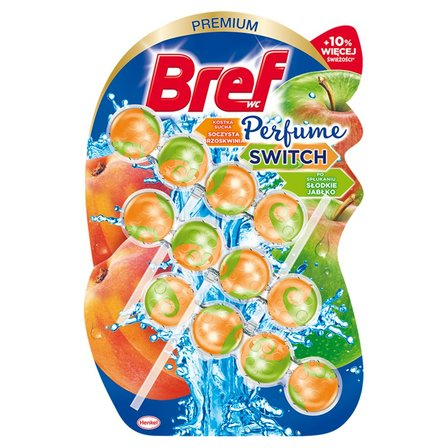 BREF WC Perfume Switch Zawieszka myjąco-zapachowa do muszli WC soczysta brzoskwinia-jabłko 3 x 50 g (1)